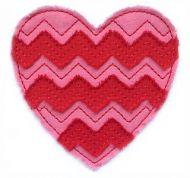 Raw Edge Chevron Heart Applique