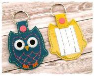 Owl Snap Tab Bag Tag