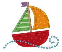 Swirly Sail Boat Applique